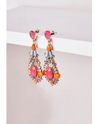 Missguided - Statement Gem Drop Earrings Neon Pink - Lyst