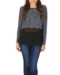 Izabel London Blue Knit Top With Chiffon Shirttail Layer