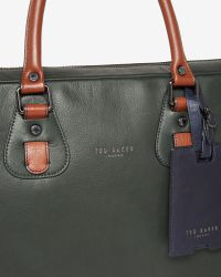 Ted Baker - Green Colour Block Leather Bowler Bag for Men - Lyst
