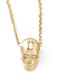 Zoe Chicco - Yellow Gold Skull Pendant Necklace - Lyst