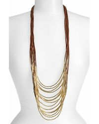 Tasha | Brown Beaded Multi-cord Long Necklace - Tan/ Gold | Lyst