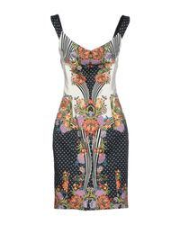 Just Cavalli - Gray Romantic Nature Print Dress Black - Lyst