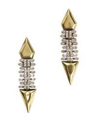Iosselliani | Metallic Gold-plated Zircon Crystal Drop Earrings | Lyst