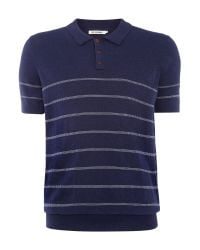 Ben Sherman | Blue Stripe Crew Neck Knitted Polo for Men | Lyst