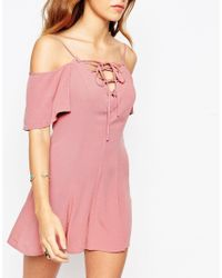 ASOS | Pink Cold Shoulder Woven Playsuit With Lace Up Detail | Lyst