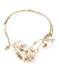 Alexander McQueen Metallic Ivy Necklace