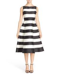 Adrianna Papell Black Stripe Mikado Midi Dress