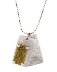 DIESEL | Metallic 'ategi' Dog Tag Necklace for Men | Lyst