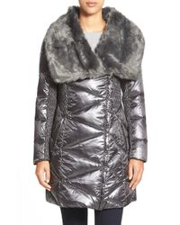 Via Spiga | Metallic Faux Fur Collar Asymmetrical Zip Down & Feather Fill Coat | Lyst