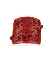 Ralph Lauren Red Tooled-Leather Cuff