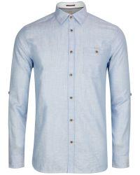 Ted Baker | Blue Farewel Classic Linen Blend Shirt for Men | Lyst