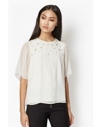 French Connection | White Broadway Lights Embellished Top | Lyst