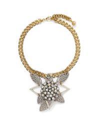 Lulu Frost | Metallic Poseidon Pavé Crystal Leaf Pendant Necklace | Lyst