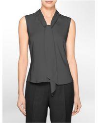 Calvin Klein | Gray White Label Drape Tie Front Sleeveless Top | Lyst