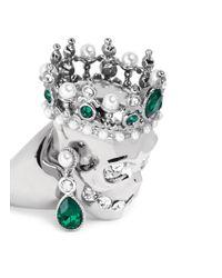 Alexander McQueen - Green Royal Skull Ring - Lyst