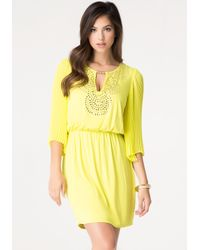 Bebe Yellow Studded Pleat Sleeve Dress