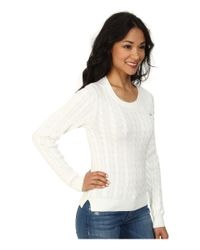 Lacoste - White Long Sleeve Cotton Cable Knit Sweater - Lyst