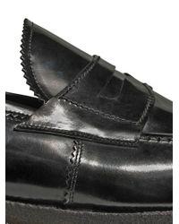 Lidfort Black Brushed Leather Money Penny Loafers for men