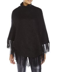 Betsey Johnson - Black Fringe Detail Poncho - Lyst