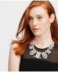 Ann Taylor - Metallic Crystal Brooch Statement Necklace - Lyst