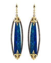 Armenta | Blue Elongated Boulder Opal Fleur De Lis Earrings | Lyst