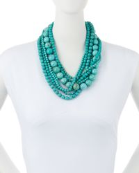 Kenneth Jay Lane - Blue Stabilized-turquoise Bead Multistrand Necklace - Lyst