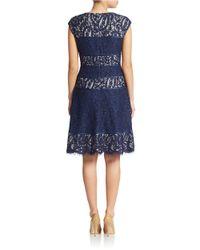 Alex Evenings | Blue Lace Panel Dress | Lyst