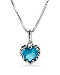 David Yurman Cable Heart Pendant With Hampton Blue Topaz
