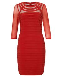 Adrianna Papell Red Long Sleeve Bandeau Dress