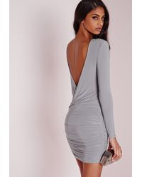 Missguided Gray Slinky Drape Back Ruched Bodycon Dress