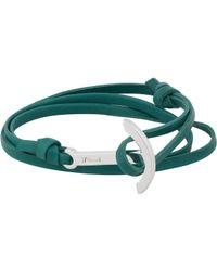 Miansai - Blue Modern Anchor On Leather Wrap Bracelet for Men - Lyst