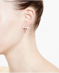 Yvonne Léon - White 18K Gold And Diamond Dragonfly Lobe Earring - Lyst