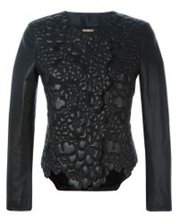 Giorgio Armani - Black Embossed Leather and Wool Jacket  - Lyst