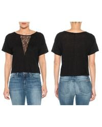 Joe's Jeans | Black Triangle Lace Tee | Lyst