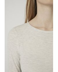 TOPSHOP - Natural Maternity Long Sleeve Ribbed Top - Lyst