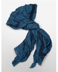 Calvin Klein | Blue White Label Lightweight Open Tiled Square Scarf | Lyst