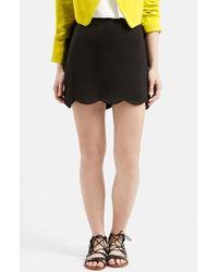 TOPSHOP | Black Scallop Hem Miniskirt | Lyst