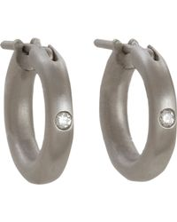 Linda Lee Johnson - Gray Diamond Nony Hoop Earrings - Lyst