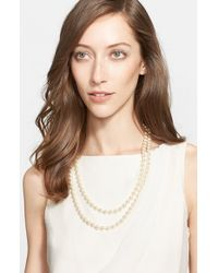 St. John | Metallic Signature Faux Pearl Necklace | Lyst