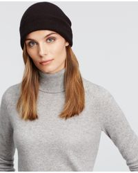 Ann Taylor | Black Cashmere Slouchy Hat | Lyst