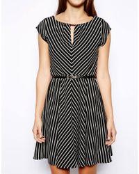 Oasis - Black Stripe Chevron Dress - Lyst