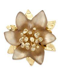 Alexis Bittar Metallic Vert Deau Small Lucite Flower Pin