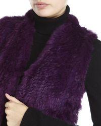 Qi | Purple Petite Real Fur Front Cashmere Vest | Lyst
