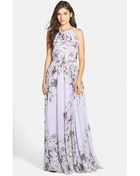 Eliza J | Purple Belted Chiffon Maxi Dress | Lyst