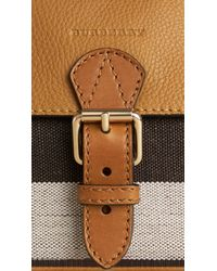 Burberry Brown Small Canvas Check And Leather Crossbody Bag