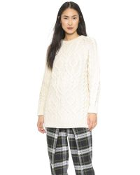 McQ White Oversized Cable Knit Sweater - Aran