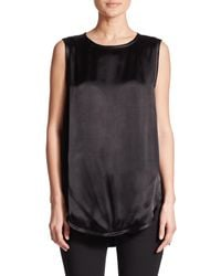 Vince | Black Sleeveless Hi-lo Top | Lyst