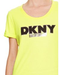 DKNY - Yellow Jeans Logo Tee - Lyst
