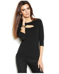 Vince Camuto | Black Three-Quarter-Sleeve Cutout Top | Lyst