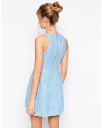 ASOS Blue Bonded Lace High Neck Lantern Mini Dress